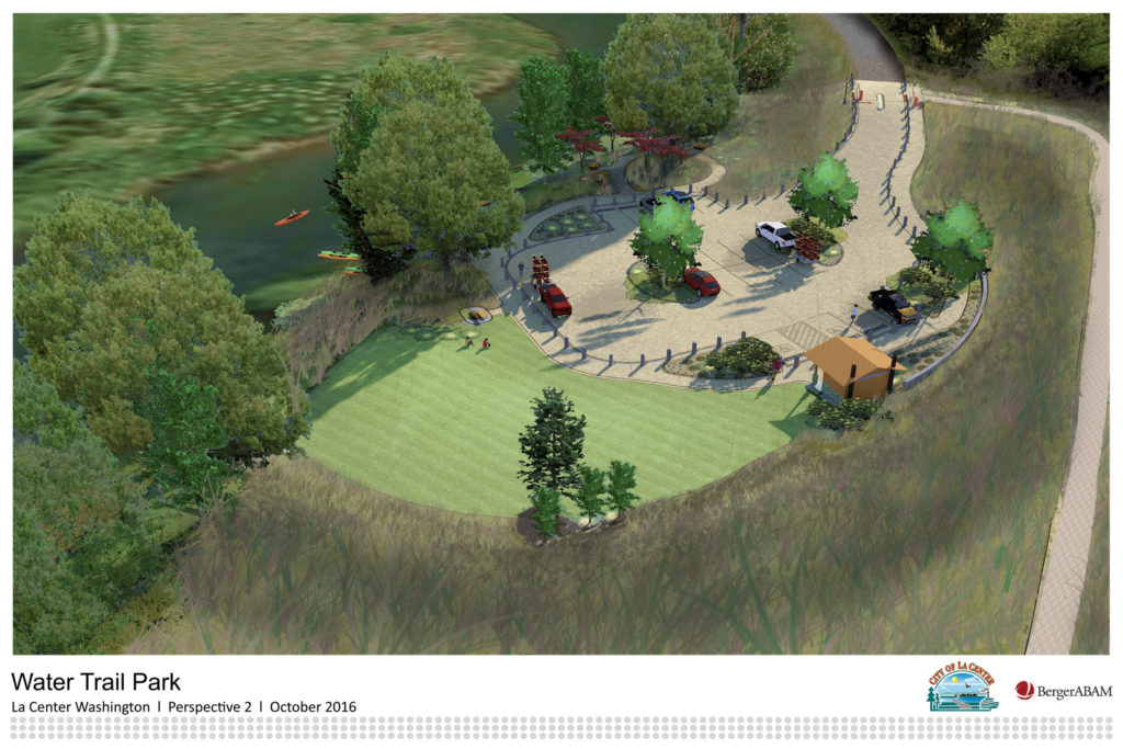 This illustration shows preliminary ideas for a future park in the city of La Center, which will connect the city with a 32-mile waterway that runs from Woodland to Vancouver. Illustration courtesy of BergerABAM and city of La Center