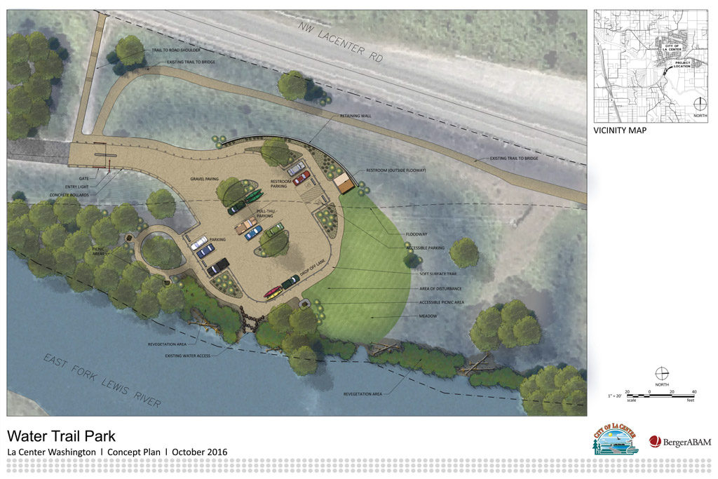 Another look at what city planners and consultants from the civil and structural engineering firm BergerABAM have in mind for La Center's future water trail park, which will be located at the end of Pollock Road near the shores of the East Fork Lewis River. Illustration courtesy of BergerABAM and city of La Center