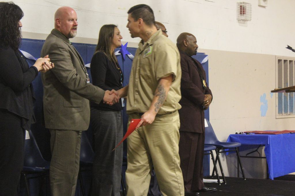A total of 67 inmates at Larch Corrections Center graduated from the Thinking for a Change program during a graduation ceremony held on Oct. 13. Since the program's implementation at Larch in 2014, 182 inmates have graduated from the program. Photo by Joanna Yorke