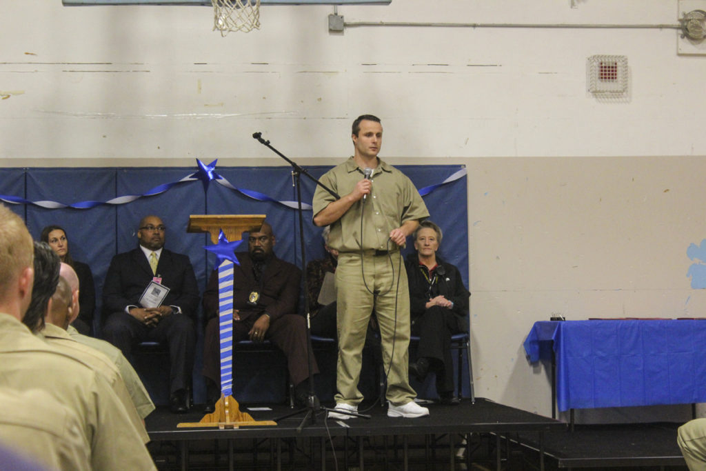 Roger Taylor, an inmate who delivered a speech on behalf of Class 24, explained how much of an impact the Thinking for a Change program had on him as he addressed guests and other inmates at the Oct. 13 graduation ceremony at Larch. Photo by Joanna Yorke