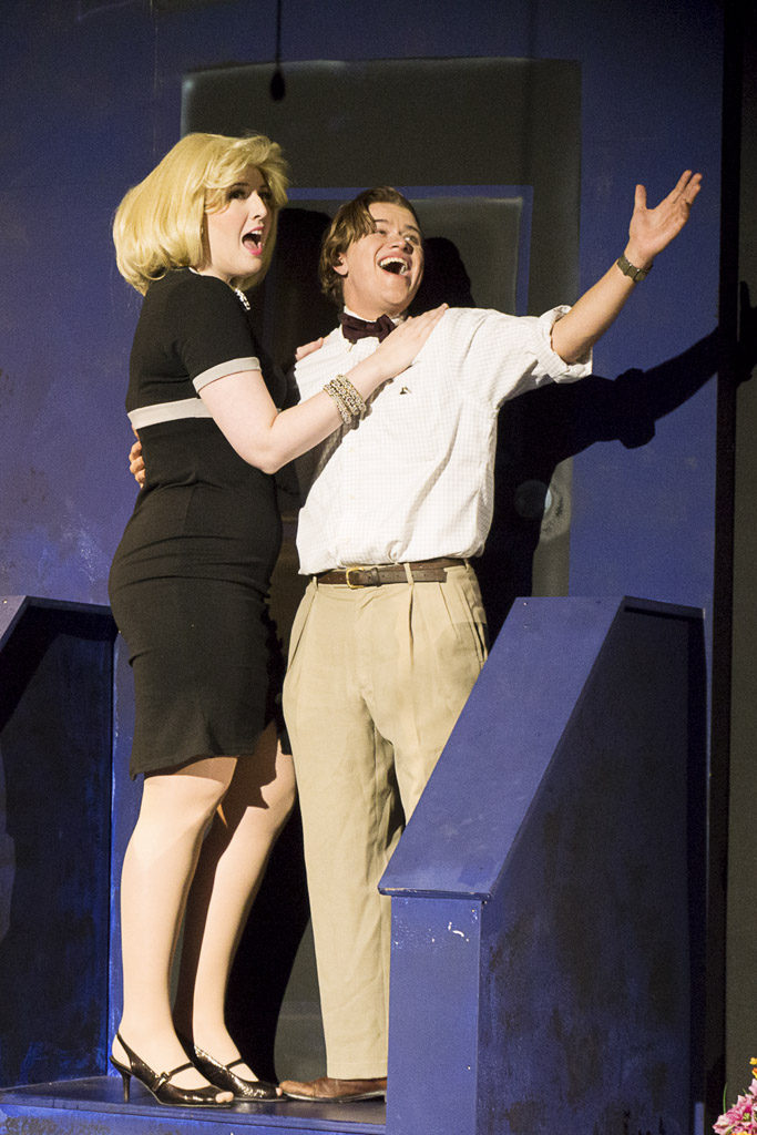 Actors Jaycelane Fortin (left) and Caleb Bourgeois sing the song 'Suddenly Seymour' in the horror comedy musical 'Little Shop of Horrors' at the Magenta Theater in downtown Vancouver. Photo courtesy of the Magenta Theater.