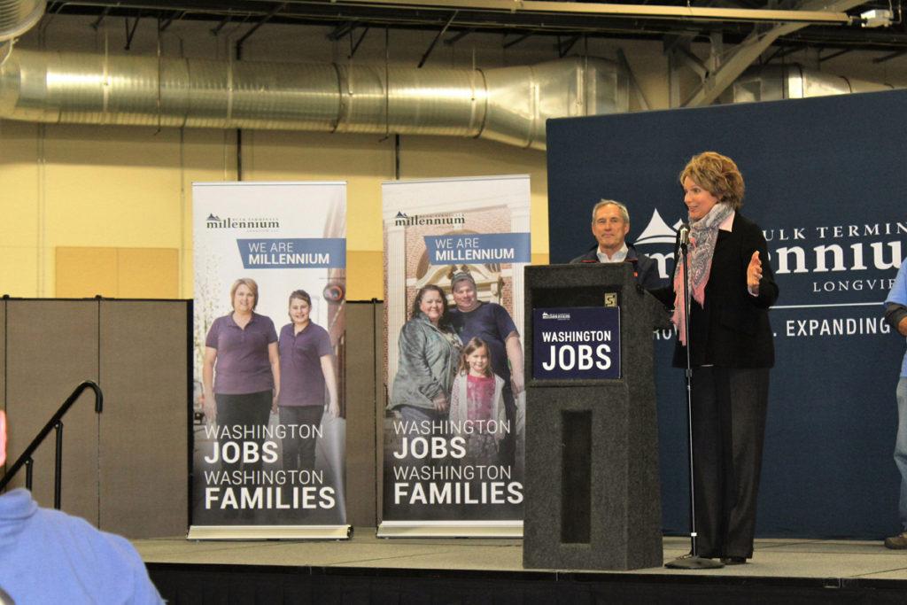 Washington state rep. Liz Pike, representative of Legislative District 18, speaks at pro-Millennium Bulk Terminals