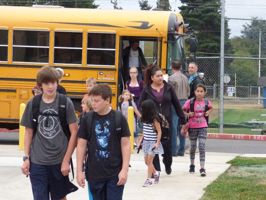Students are shown here starting their day at Union Ridge Elementary School. A special parent night will be held for those in the Ridgefield School District on Tue., Nov. 8, to provide an overview of newly revised school safety protocol in responding to active threat situations. Photo courtesy of Ridgefield School District