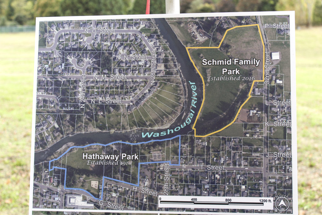 This map shows where the new Schmid Family Park is located in the city of Washougal. Photo by Kelly Moyer.