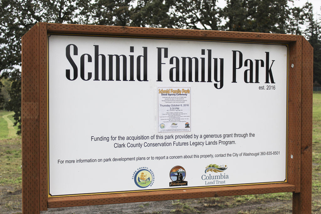 At nearly 18 acres, the new Schmid Family Park is Washougal's biggest park. Located near the Washougal River, off Northeast 32nd Street in Washougal, the park is a mix of floodway land near the river and higher-elevation land that could someday be used for a community center, a dog park or some other form of public recreation space. Photo by Kelly Moyer.