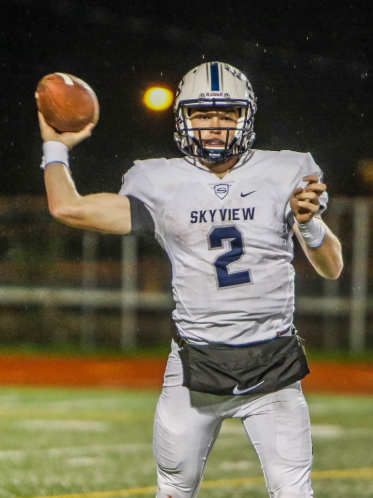 Skyview quarterback Brody Barnum (2) throws a pass against Union Friday. Photo by Mike Schultz