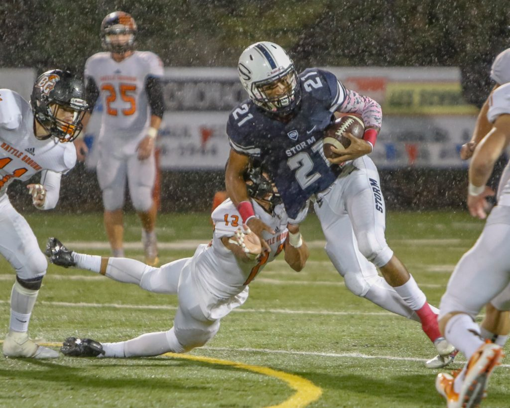 Skyview wide receiver Jeremiah Wright (21) runs by Battle Ground defensive back Tommy Renfroe (13). Photo by Mike Schultz.