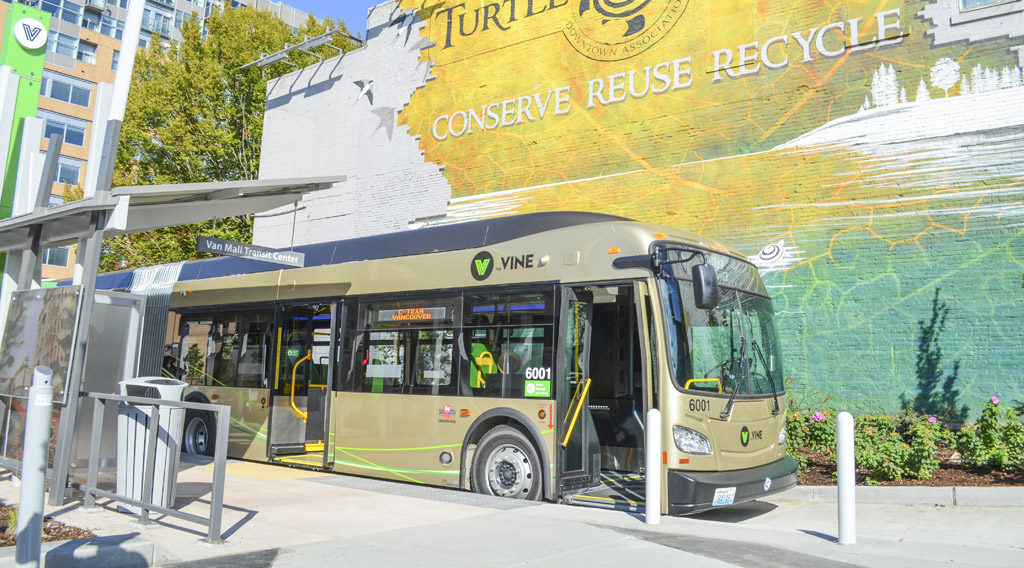 The Vine, the first bus rapid transit system in the Portland-Vancouver region, will begin service in Vancouver on Sun., Jan. 8, 2017. The announcement was made during the C-TRAN Board of Directors meeting Oct. 11. Photo courtesy of C-TRAN
