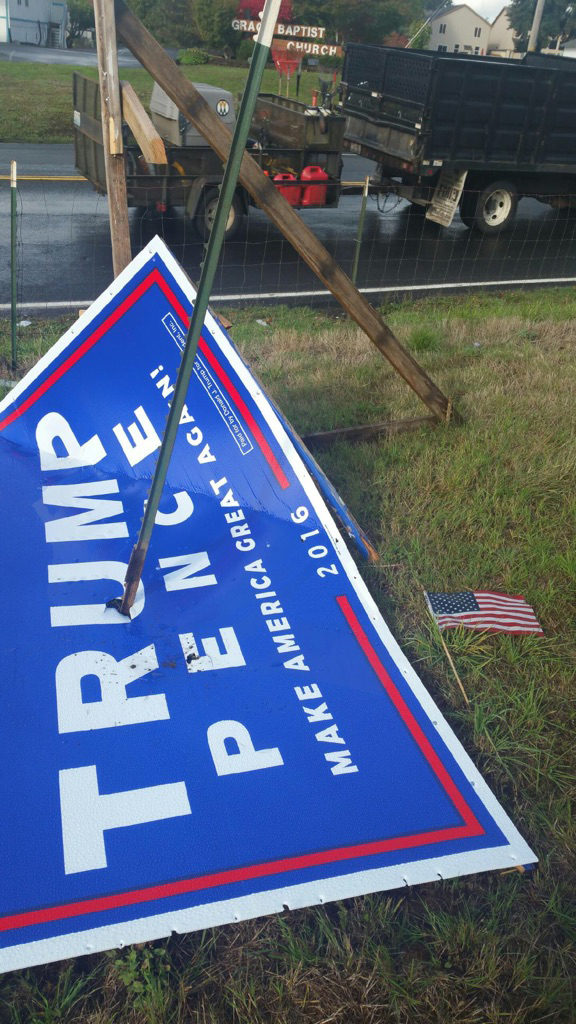 Supporters of presidential nominee Donald Trump report a higher-than-normal rate of vandalism to the candidate's signs in the area. An anonymous donor has offered a $1,000 reward to anyone with information that leads to an arrest in a case involving the vandalism of a Trump campaign sign. Photo courtesy of Trump Clark County