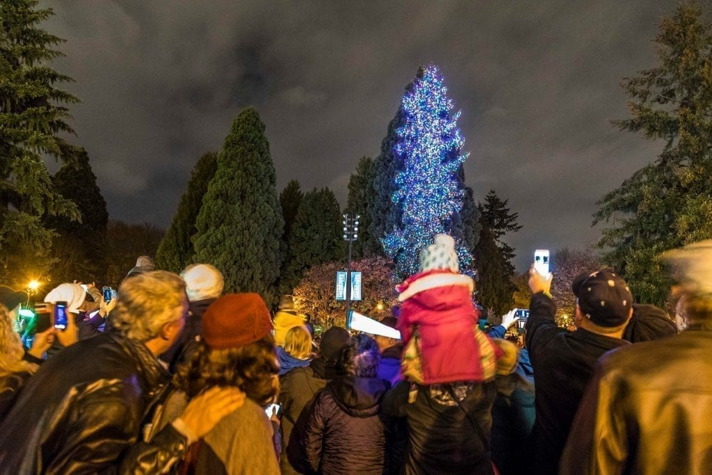A large crowd turned out for the Christmas tree lighting at Esther Short Park, Vancouver, Friday, November, 25. Photo by Mike Schultz