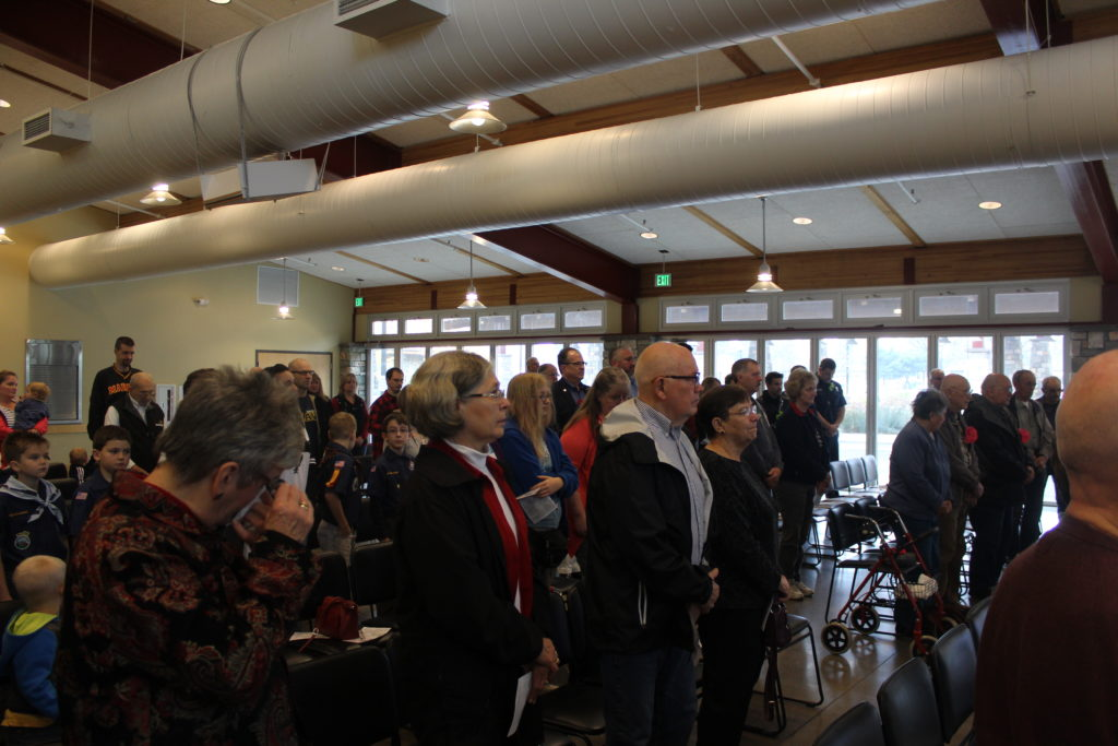 Members of the Battle Ground community and veterans gathered in the Battle Ground Community Center the morning of Veterans Day to honor those who served, during a ceremony put on by the city of Battle Ground. Photo by Joanna Yorke