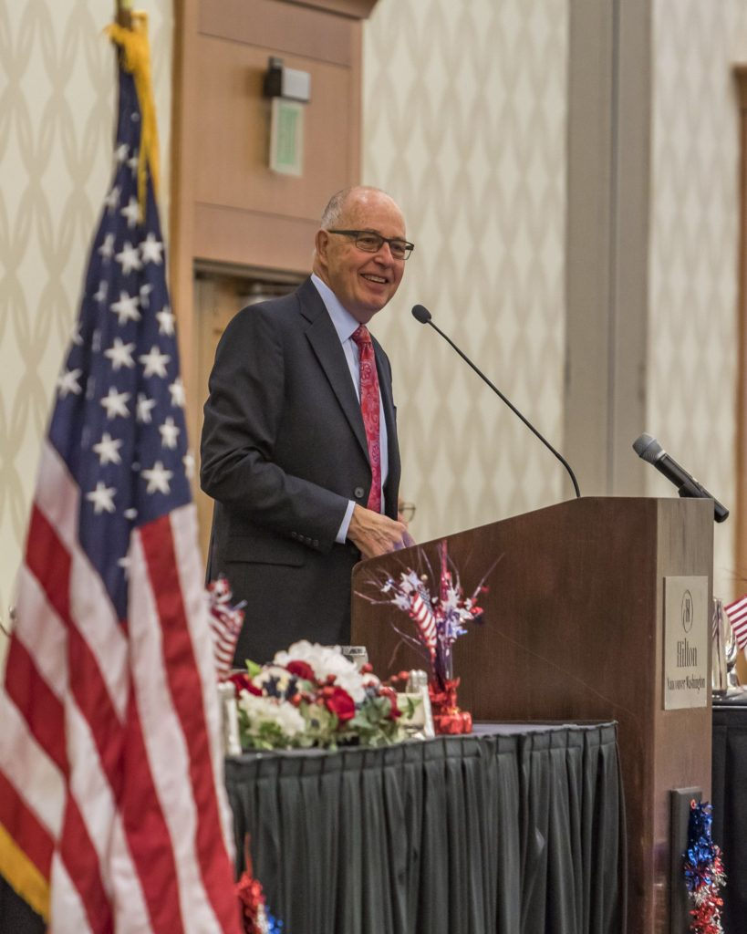 Bill Ritchie, retired pastor at Crossroads Community Church in Vancouver, served as the Master of Ceremonies Friday at the 15th annual Clark County Prayer Breakfast. Photo by Mike Schultz