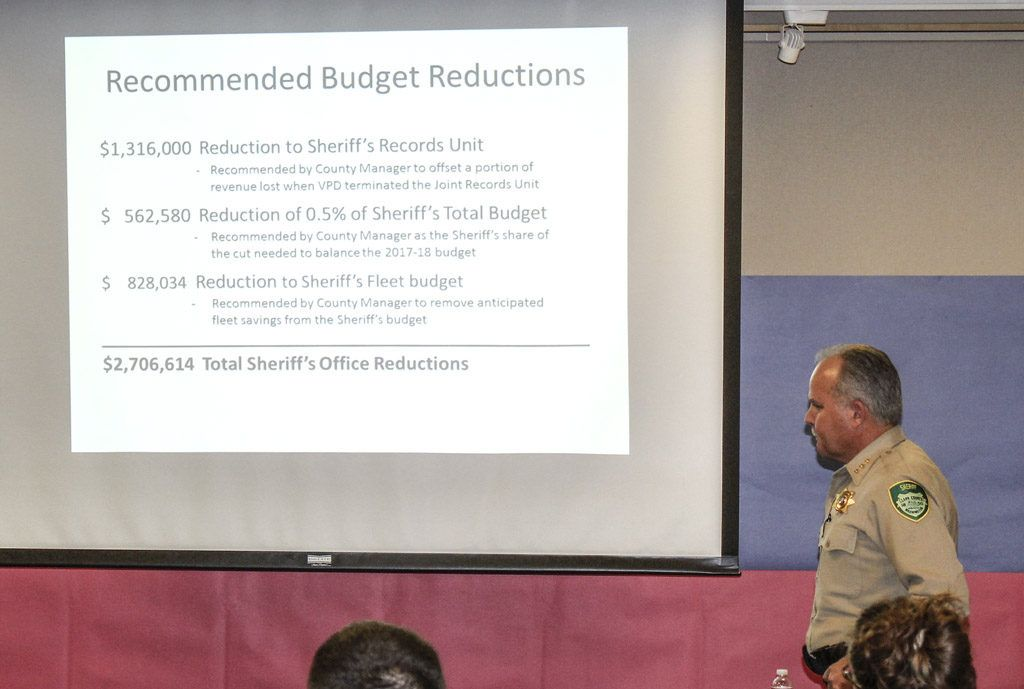 Clark County Sheriff Chuck Atkins Budget Cuts Town Hall News