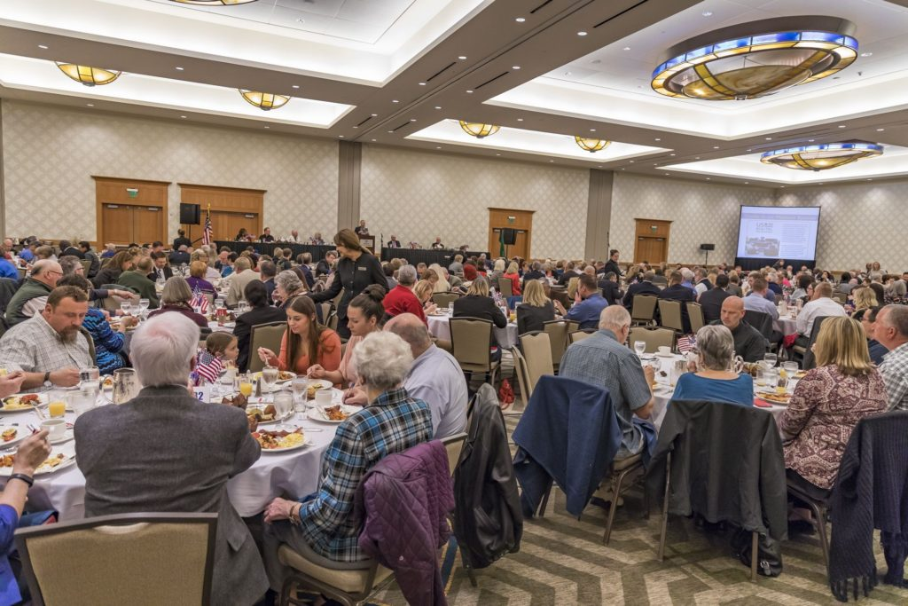 A large crowd of Clark County residents gathered Friday at the Vancouver Hilton for the 15th annual Clark County Prayer Breakfast. Photo by Mike Schultz