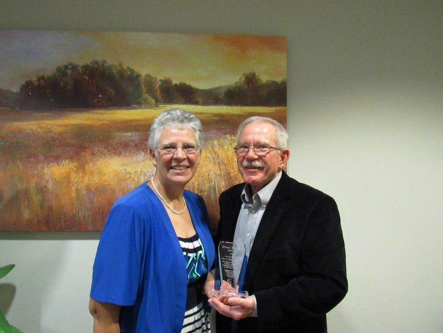 Peggy and Ken Kirkman were awarded the Silent Servant Award by the Peter R. Marsh Foundation during a Nov. 7 Battle Ground City Council meeting. Photo courtesy of the Peter R. Marsh Foundation