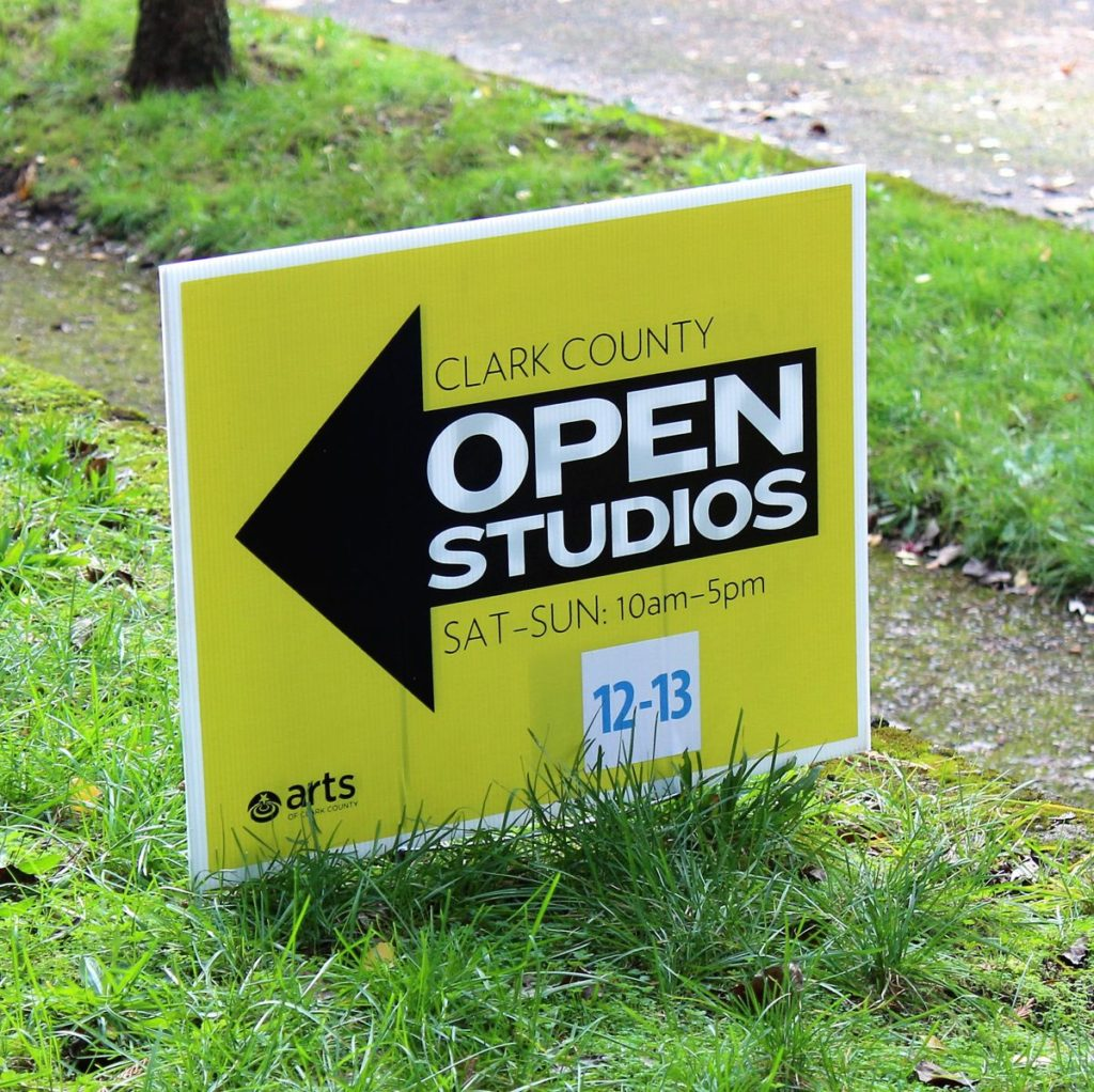 Signs for this year's Clark County Open Studios Tour, which features 50 of the county's best artists, point visitors to studios throughout Clark County, including this one, which leads people to the Vancouver, home-based art studios of husband-and-wife artists, David Mylin and Kim Murton.