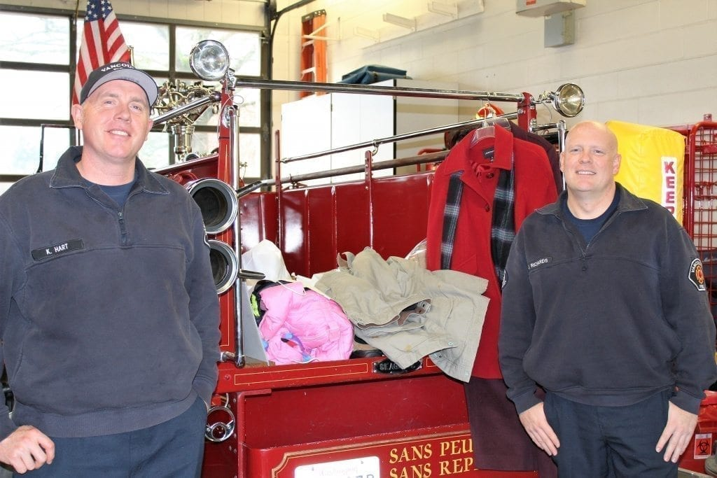 Vancouver Firefighters at Vancouver Fire Station 2 for winter coat drive and Operation Warm