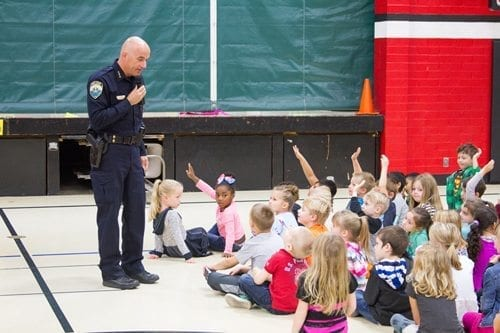Police, firefighters visit Woodland Primary School