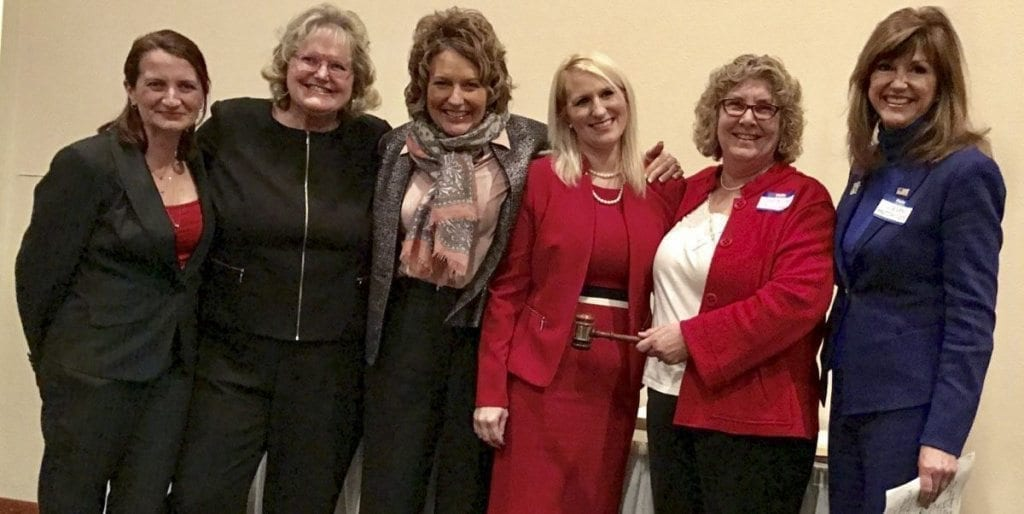 The new Clark County Republican Women officers (from left to right) Treasurer Suzanne Gerhardt, Secretary Anna Miller, Second Vice President Liz Pike, First Vice President Stacie Jesser, and president Connie Jo Freeman gather with Washington State Republican Party Chairman Susan Hutchison (far right) at the Clark County Republican Women's gala event, held Thu., Jan. 12 in Vancouver. Photo courtesy of David Madore