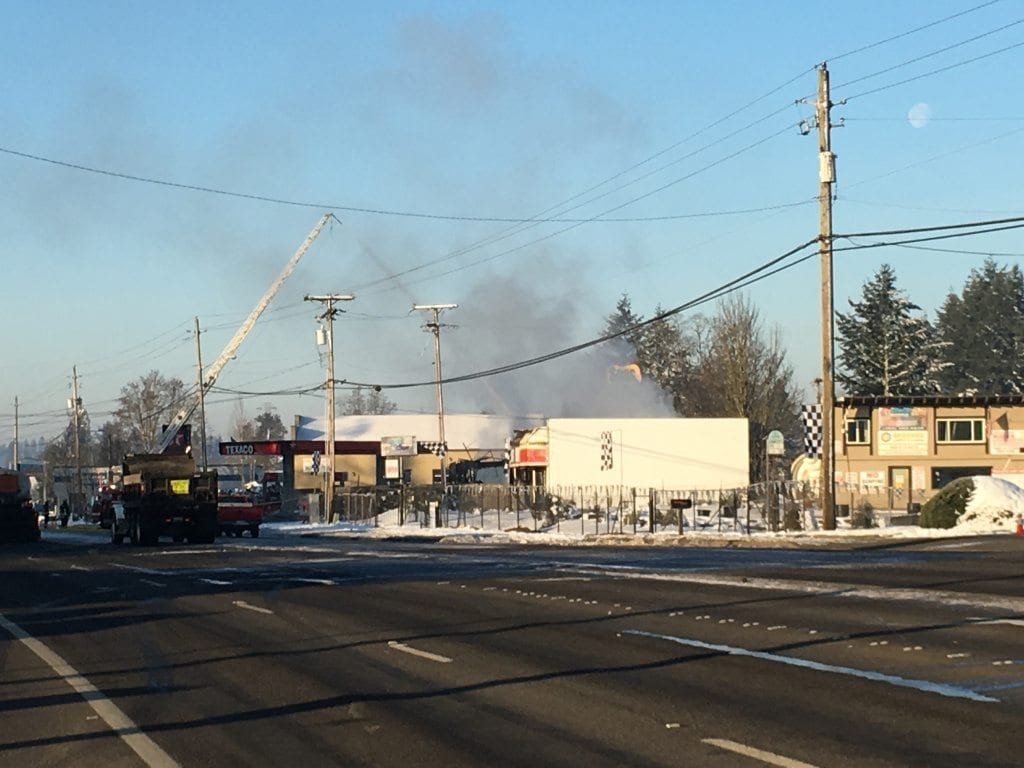 At approximately 0540 on Sunday, January 15 the Vancouver Fire Department was dispatched to a commercial structure fire at 134th Avenue and Fourth Plain Blvd. Photo by Andi Schwartz