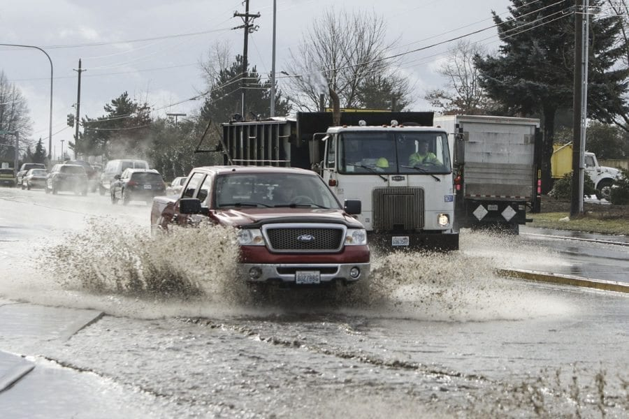Rains have returned to the Vancouver area, and Public Works crews are out plowing slush and clearing streets where nature and deicer are assisting in breaking up compacted snow and ice.