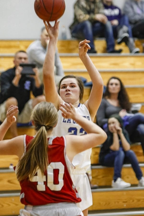 La Center junior Taylor Mills (22), a 6-foot-2 post, is the Wildcats' inside punch, averaging 16.7 points per game this season. Photo by Mike Schultz