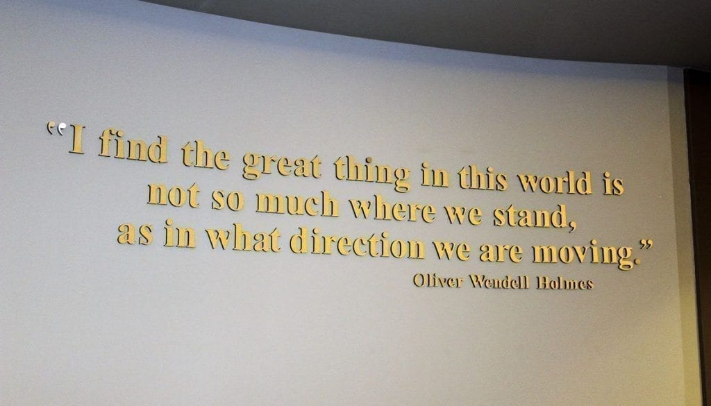 This Oliver Wendell Holmes Jr. hangs on a wall inside the Vancouver City Council chambers at Vancouver City Hall. Anne McEnerny-Ogle, a Vancouver city councilmember who recently announced her bid to be Vancouver's next mayor, says she also is concerned with how city government begins moving in a certain direction. Photo by Kelly Moyer