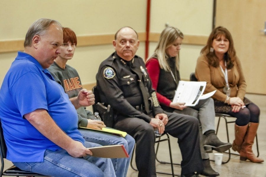 A panel made up of Loren Carlson (owner of Country Cannabis Store), Sharice Lee (intervention specialist at Prairie High School), Bob Richardson (Battle Ground police chief), Joy Lyons (prevention coordinator for ESD 112) and Kathy Deschner (coalition coordinator for Prevent Together: Battle Ground Prevention Alliance), discussed the impacts of marijuana legalization on the Battle Ground community and youth prevention on Wednesday evening. Photo by Mike Schultz