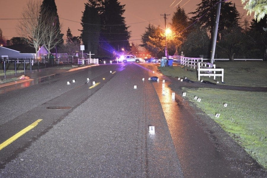 This is the scene of an auto/pedestrian hit and run crash that occurred during the early morning hours of Mon., Feb. 20. The crash occurred at the 4100 block of Northeast 54th Avenue in Vancouver. Photo courtesy of the Clark County Sheriff's Department