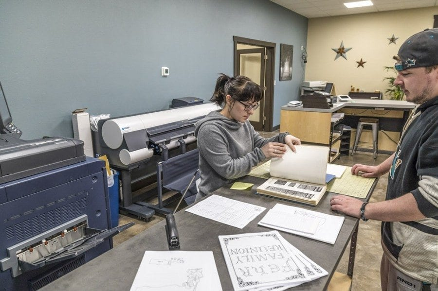 Currently, the Ink Ability print shop in Battle Ground is being run by Rebecca Laratta and her fiance, Joseph Wright. Photo by Mike Schultz