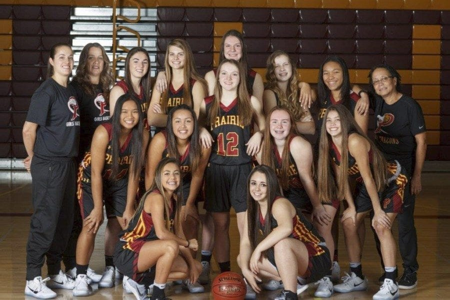 The Prairie High School girls basketball team is one win away from advancing to the Final 8 portion of the Class 3A state tournament, which begins March 1 at the  Tacoma Dome. Photo courtesy of Battle Ground School District
