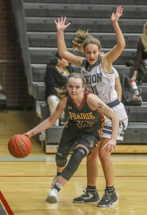 Prairie senior Jozie Tangeman (12), shown here in a game earlier this season against Union, was named the Class 3A Greater St. Helens League Player of the Year this season. Photo by Mike Schultz