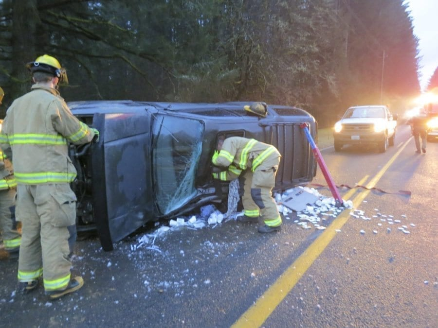 Clark County Fire District 3, single car accident, Brush Prairie, Vancouver Fire Department, AMR, Clark County Sheriff's Office