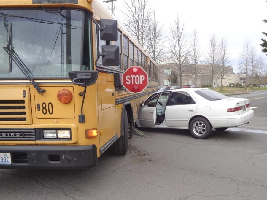 A school bus carrying no students collided with a car Tuesday afternoon at an intersection near the Skyview High School campus. Photo courtesy of Clark County Sheriff's Office