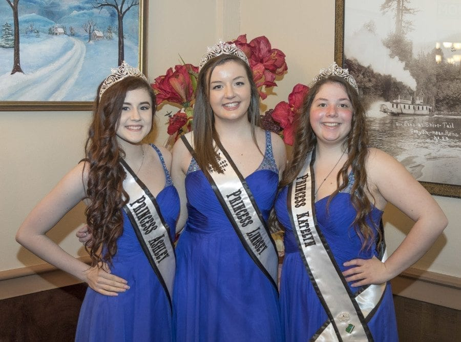The 2017 Woodland Planters Days Court was introduced at a Woodland Chamber of Commerce event Tuesday at the Oak Tree Restaurant in Woodland. The princesses are (left-to-right) Ashley Estep, Lindsey Paul and Katelyn Beuscher. Photo by Mike Schultz