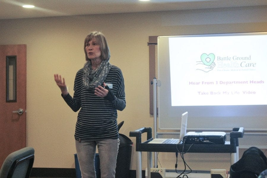 "Dietician Anne Lamberton talks to attendees at the March 14 Lunch and Learn event at the Battle Ground Health Care clinic about the clinic's new ""Taking Back My Life"" chronic pain self-management course. Photo by Joanna Yorke"