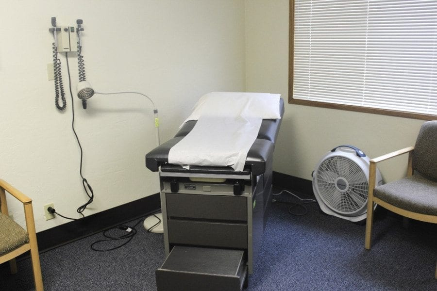 This photo shows one of the exam rooms available for patients at the Battle Ground Health Care clinic. All of the equipment, furniture, etc. at the clinic are items that have been donated to Battle Ground Health Care. Photo by Joanna Yorke