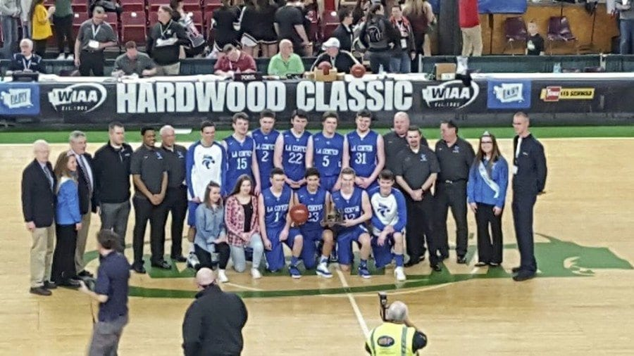La Center earned a fourth-place trophy at the 2017 Class 1A boys state basketball tournament, played last week at the SunDome in Yakima. It was the first time the Wildcats had earned a trophy at the state tournament in 20 years. Photo courtesy of Jeremy Ecklund's Facebook page
