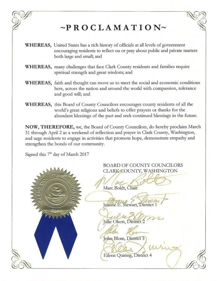 This proclamation was presented by Clark County Board of Councilors Chair Mac Boldt to Clark County Prayer Connect Leaders Dennis Fuqua and Steve Zimmerman at Tuesday's board meeting. Photo courtesy of Clark County Prayer Connect