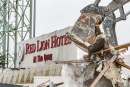 Demo crews knock down most of iconic Red Lion at the Quay hotel, make way for mixed-use redevelopment, new hotel on Vancouver's Columbia River waterfront
