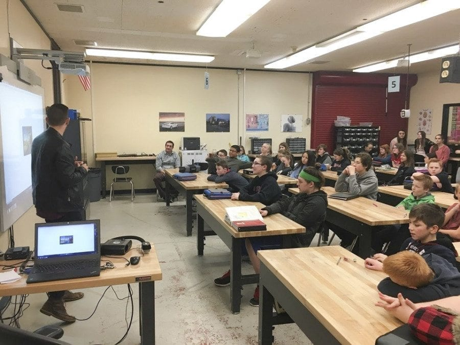 Trevor Chayce of LSW Architects shares a design graphic with View Ridge Middle School STEM students. Photo courtesy of Ridgefield School District