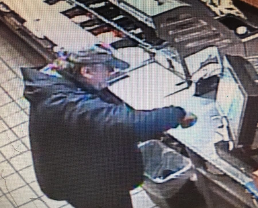 The pictured suspect was armed and allegedly robbed a Subway restaurant at 910 Tenney Road at 8:16 on Tuesday morning, March 28. The suspect has not yet been found. Photo courtesy of the Clark County Sheriff's Office