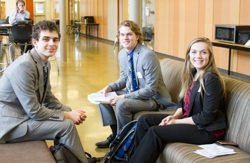 Students use time between competitions at the FBLA Winter Conference to prepare their presentations. Photo courtesy of Woodland Public Schools