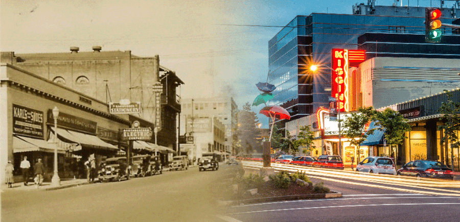 This photo shows the changes to the downtown area of the city of Vancouver over the years. Photo courtesy of city of Vancouver