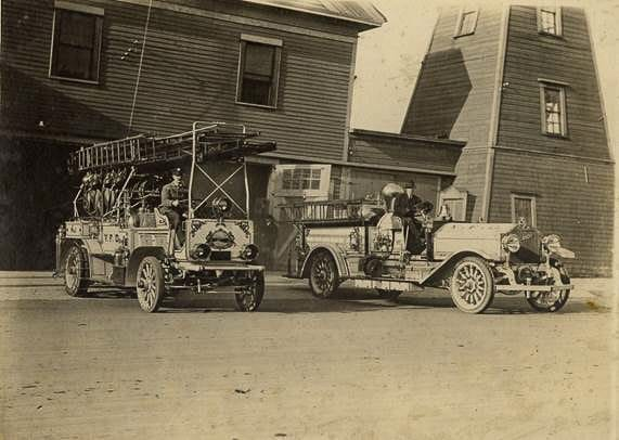 The Vancouver Fire Department's first motorized apparatus, circa 1913, is shown here. Photo courtesy of city of Vancouver