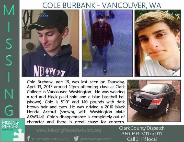 On Friday evening, the 2010 Black Honda Accord associated with missing Camas teen Cole Burbank was located in a shopping center parking lot in Chehalis. Inside the vehicle was a lone, deceased occupant, described as a young, adult male. Photo courtesy of Camas Police Department