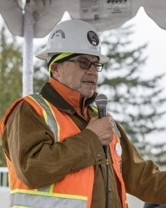 Cowlitz Indian Tribal Chairman Bill Iyall spoke to those who gathered Tuesday to celebrate the opening of the new Interstate 5, Exit 16 interchange near La Center. Photo by Mike Schultz