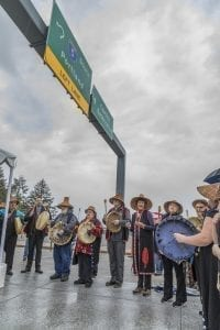 Members of the Cowlitz Indian Tribe helped bless the opening of the new Interstate 5, Exit 16 interchange near La Center. Photo by Mike Schultz