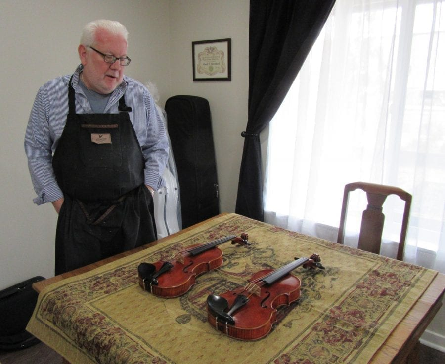 Battle Ground violin maker Mark Moreland makes and sells instruments ranging in price from a workshop line — $3,000 for a violin and $9,500 for a cello — to his better instruments which run $20,000 for a violin and $45,000 for a cello. Photo courtesy of Carolyn Schultz-Rathbun