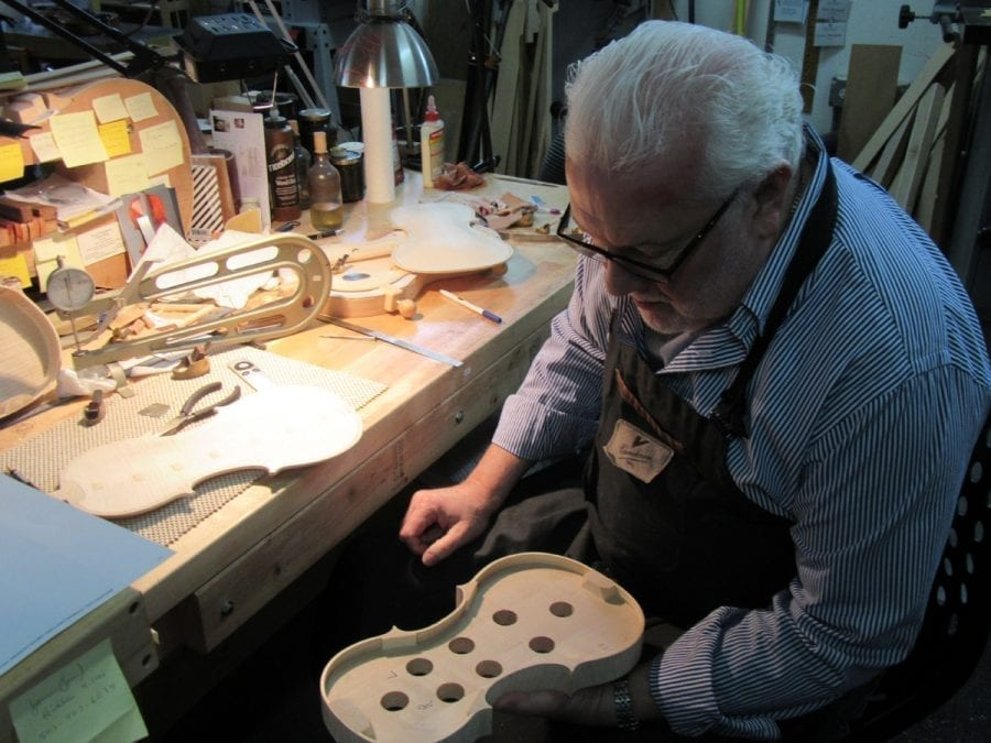 Mark Moreland says a violin takes 65-67 hours to build, and another 20-25 to varnish and set up. Photo courtesy of Carolyn Schultz-Rathbun